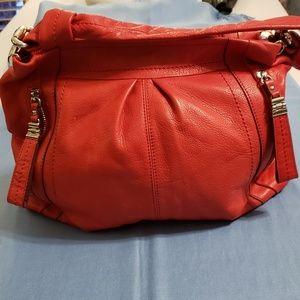 b. Makowsky Red Leather Hobo Handbag